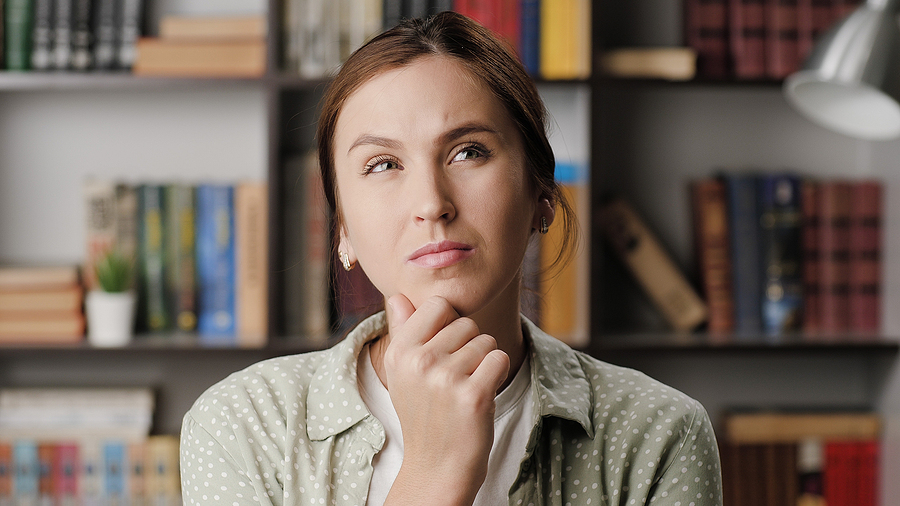 Woman while thinking